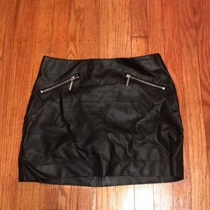 Black Faux Leather Mini Skirt